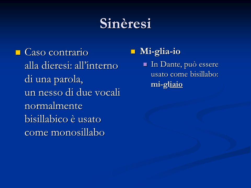 Sinèresi Caso contrario Caso contrario alla dieresi: all'interno di una parola, un nesso di due vocali normalmente bisillabico è usato come monosillab