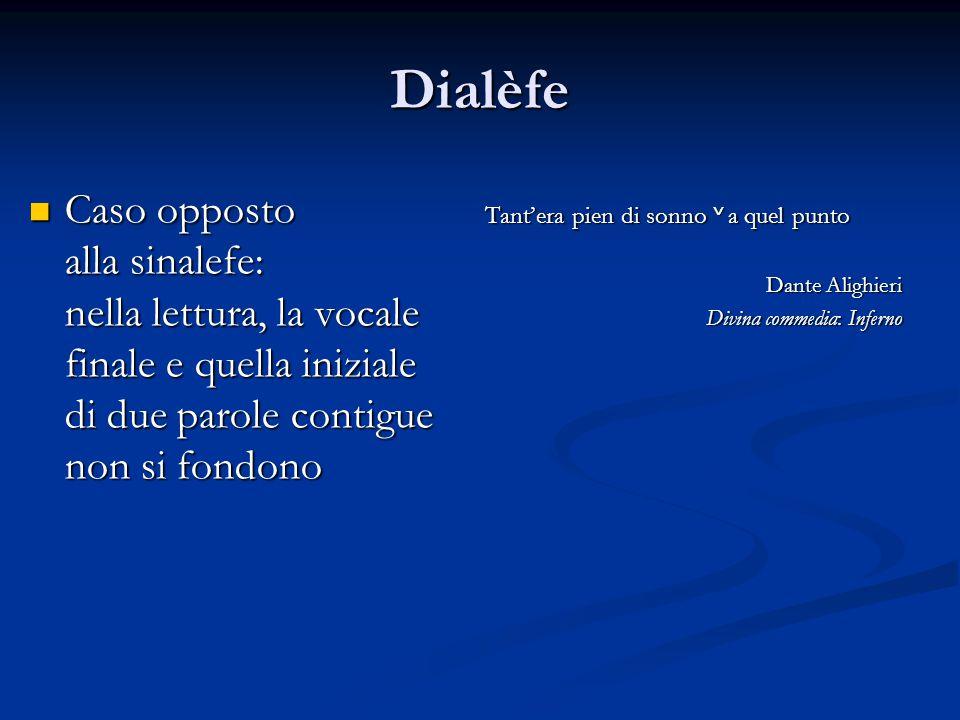 Dialèfe Caso opposto Caso opposto alla sinalefe: nella lettura, la vocale finale e quella iniziale di due parole contigue non si fondono Tant'era pien
