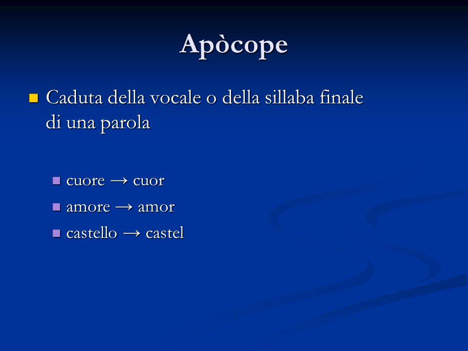 Apòcope Caduta della vocale o della sillaba finale Caduta della vocale o della sillaba finale di una parola cuore → cuor cuore → cuor amore → amor amo