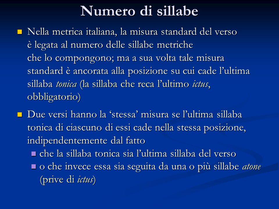 Numero di sillabe Nella metrica italiana, la misura standard del verso Nella metrica italiana, la misura standard del verso è legata al numero delle s