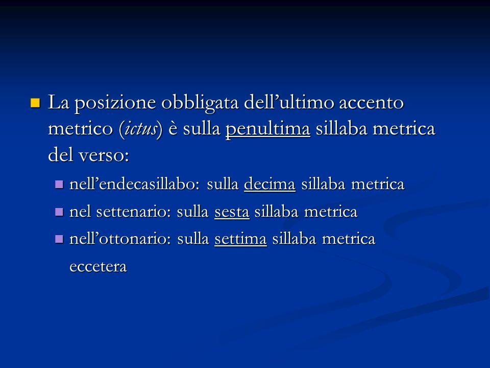 La posizione obbligata dell'ultimo accento metrico (ictus) è sulla penultima sillaba metrica del verso: La posizione obbligata dell'ultimo accento met