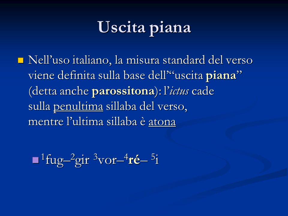 """Uscita piana Nell'uso italiano, la misura standard del verso viene definita sulla base dell'""""uscita piana"""" (detta anche parossitona): l'ictus cade Nel"""