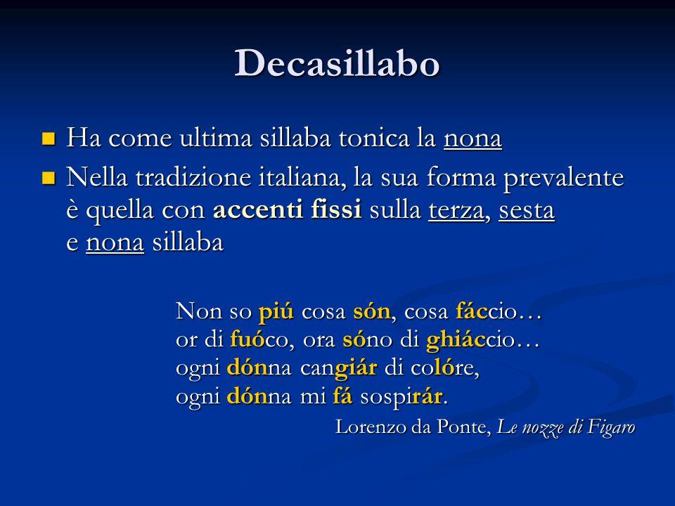 Decasillabo Ha come ultima sillaba tonica la nona Ha come ultima sillaba tonica la nona Nella tradizione italiana, la sua forma prevalente è quella co