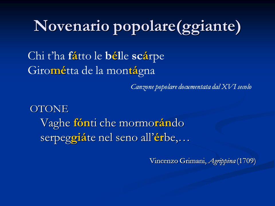 Novenario popolare(ggiante) OTONE Vaghe fónti che mormorándo serpeggiáte nel seno all'érbe,… Vincenzo Grimani, Agrippina (1709) áéá Chi t'ha fátto le