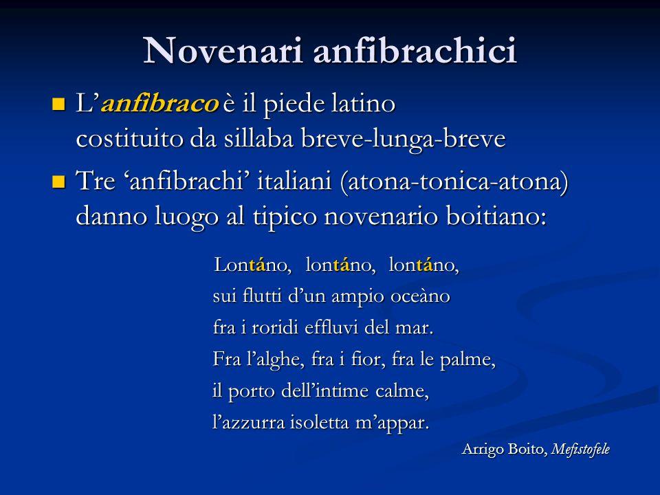 Novenari anfibrachici L'anfìbraco è il piede latino costituito da sillaba breve-lunga-breve L'anfìbraco è il piede latino costituito da sillaba breve-