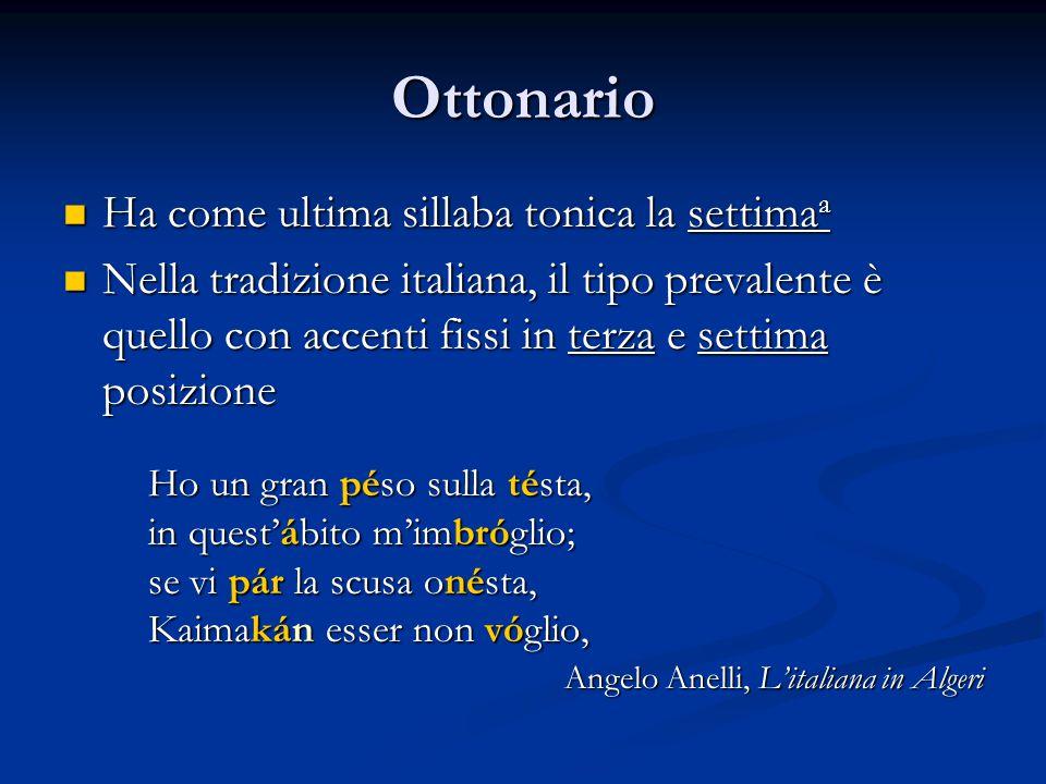 Ottonario Ha come ultima sillaba tonica la settima a Ha come ultima sillaba tonica la settima a Nella tradizione italiana, il tipo prevalente è quello