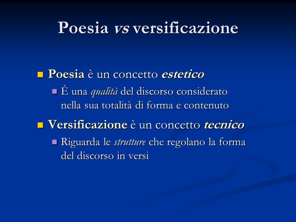 Poesia vs versificazione Poesia è un concetto estetico Poesia è un concetto estetico È una qualità del discorso considerato È una qualità del discorso