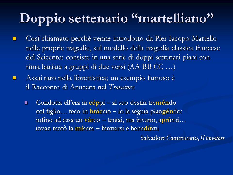 """Doppio settenario """"martelliano"""" Così chiamato perché venne introdotto da Pier Iacopo Martello nelle proprie tragedie, sul modello della tragedia class"""