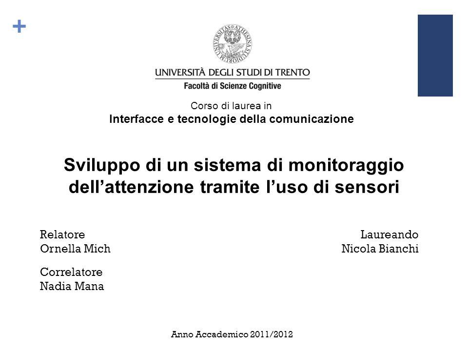 + Corso di laurea in Interfacce e tecnologie della comunicazione Sviluppo di un sistema di monitoraggio dell'attenzione tramite l'uso di sensori Relat