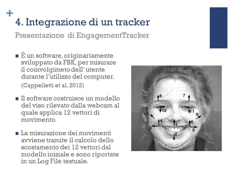 + 4. Integrazione di un tracker È un software, originariamente sviluppato da FBK, per misurare il coinvolgimeto dell' utente durante l'utilizzo del co
