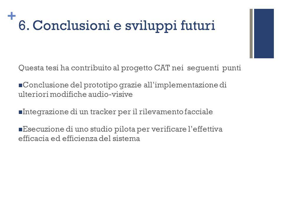 + 6. Conclusioni e sviluppi futuri Questa tesi ha contribuito al progetto CAT nei seguenti punti Conclusione del prototipo grazie all'implementazione