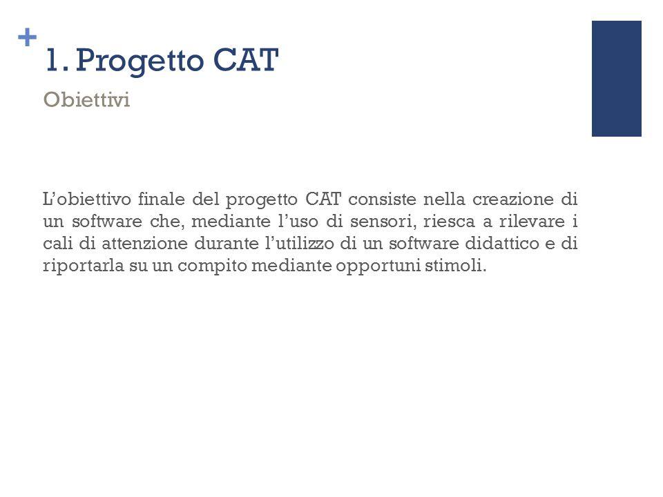 + 1. Progetto CAT L'obiettivo finale del progetto CAT consiste nella creazione di un software che, mediante l'uso di sensori, riesca a rilevare i cali