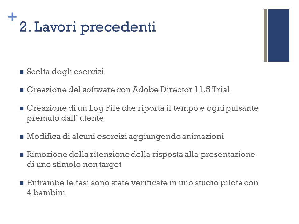 + 2. Lavori precedenti Scelta degli esercizi Creazione del software con Adobe Director 11.5 Trial Creazione di un Log File che riporta il tempo e ogni
