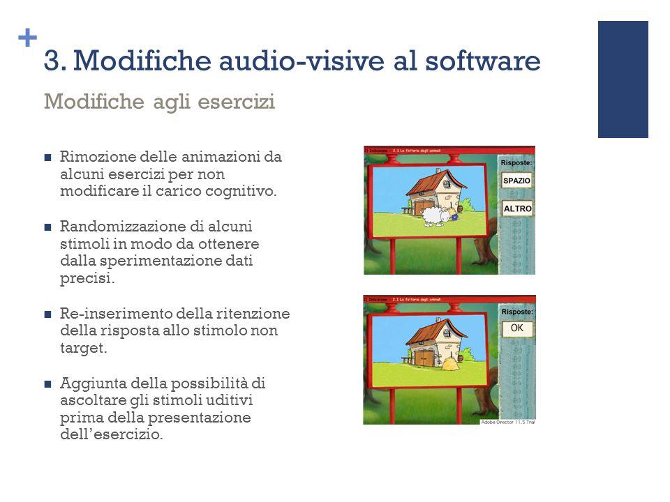 + 3. Modifiche audio-visive al software Rimozione delle animazioni da alcuni esercizi per non modificare il carico cognitivo. Randomizzazione di alcun