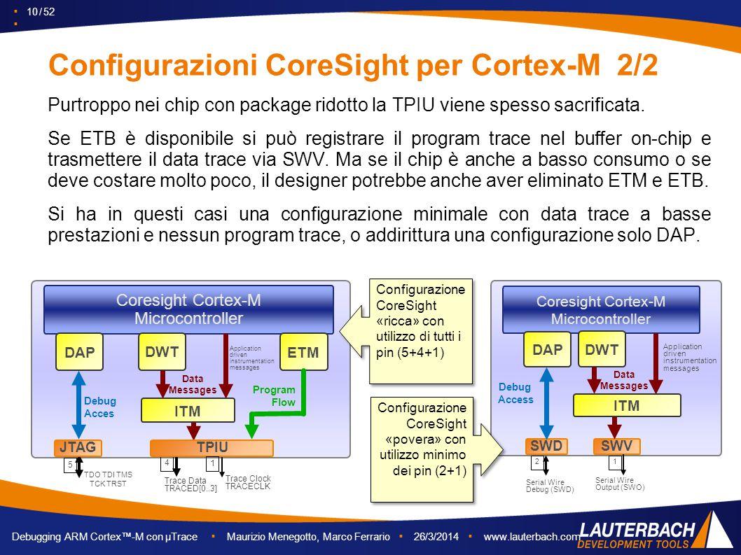 ▪ 10 / 52 ▪ Debugging ARM Cortex™-M con µTrace ▪ Maurizio Menegotto, Marco Ferrario ▪ 26/3/2014 ▪ www.lauterbach.com Configurazioni CoreSight per Cort