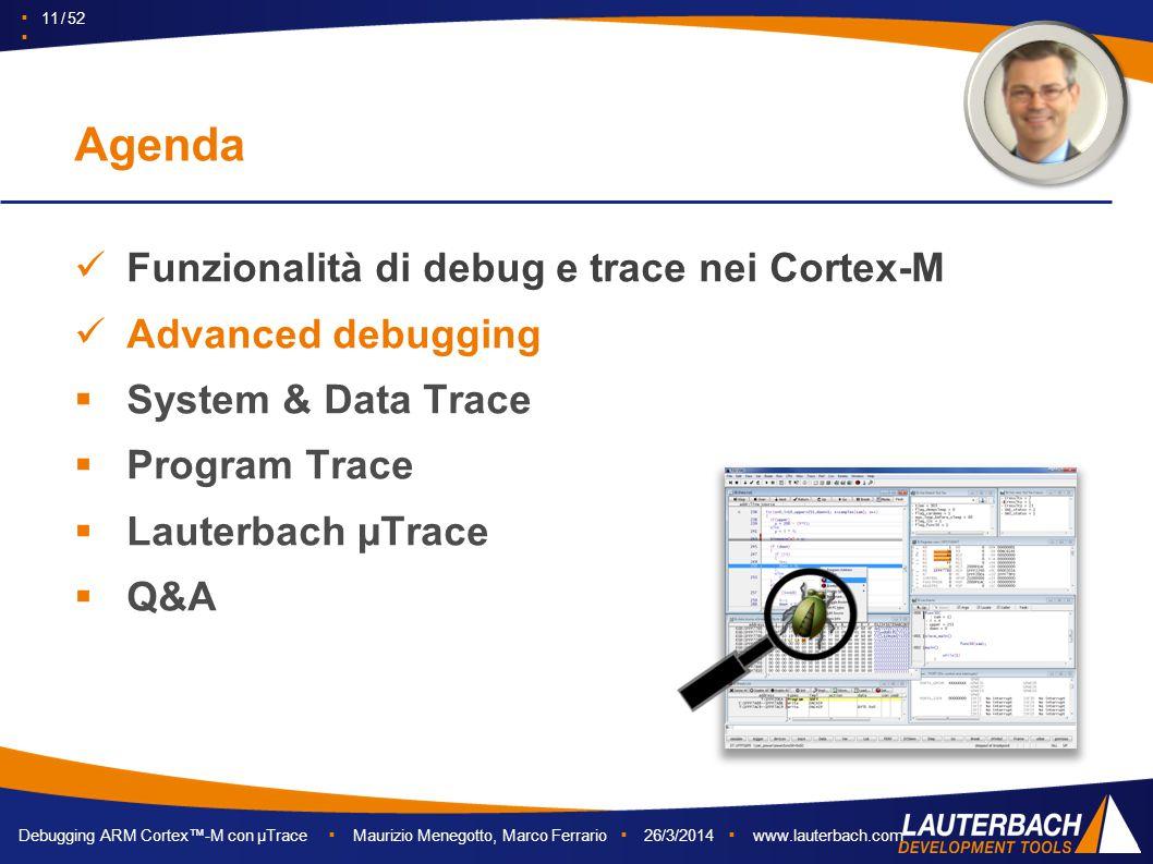 Debugging ARM Cortex™-M con µTrace ▪ Maurizio Menegotto, Marco Ferrario ▪ 26/3/2014 ▪ www.lauterbach.com ▪ 11 / 52 ▪ Funzionalità di debug e trace nei