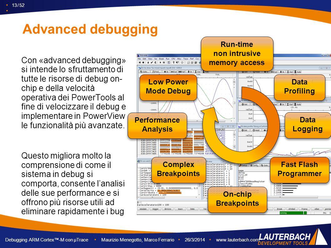 ▪ 13 / 52 ▪ Debugging ARM Cortex™-M con µTrace ▪ Maurizio Menegotto, Marco Ferrario ▪ 26/3/2014 ▪ www.lauterbach.com Advanced debugging Con «advanced