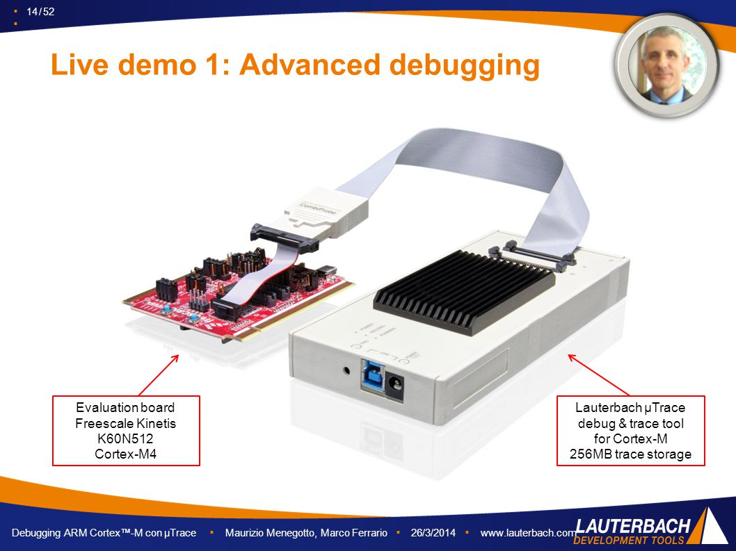 ▪ 14 / 52 ▪ Debugging ARM Cortex™-M con µTrace ▪ Maurizio Menegotto, Marco Ferrario ▪ 26/3/2014 ▪ www.lauterbach.com Live demo 1: Advanced debugging E