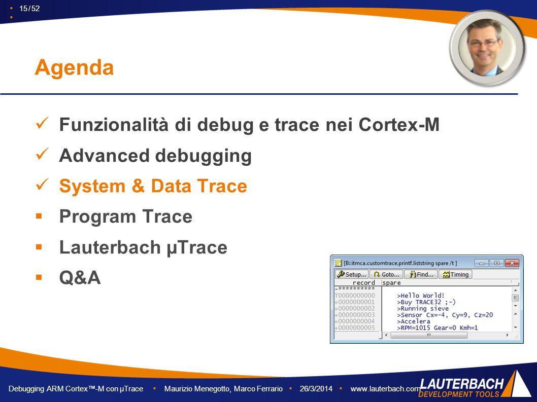 Debugging ARM Cortex™-M con µTrace ▪ Maurizio Menegotto, Marco Ferrario ▪ 26/3/2014 ▪ www.lauterbach.com ▪ 15 / 52 ▪ Funzionalità di debug e trace nei