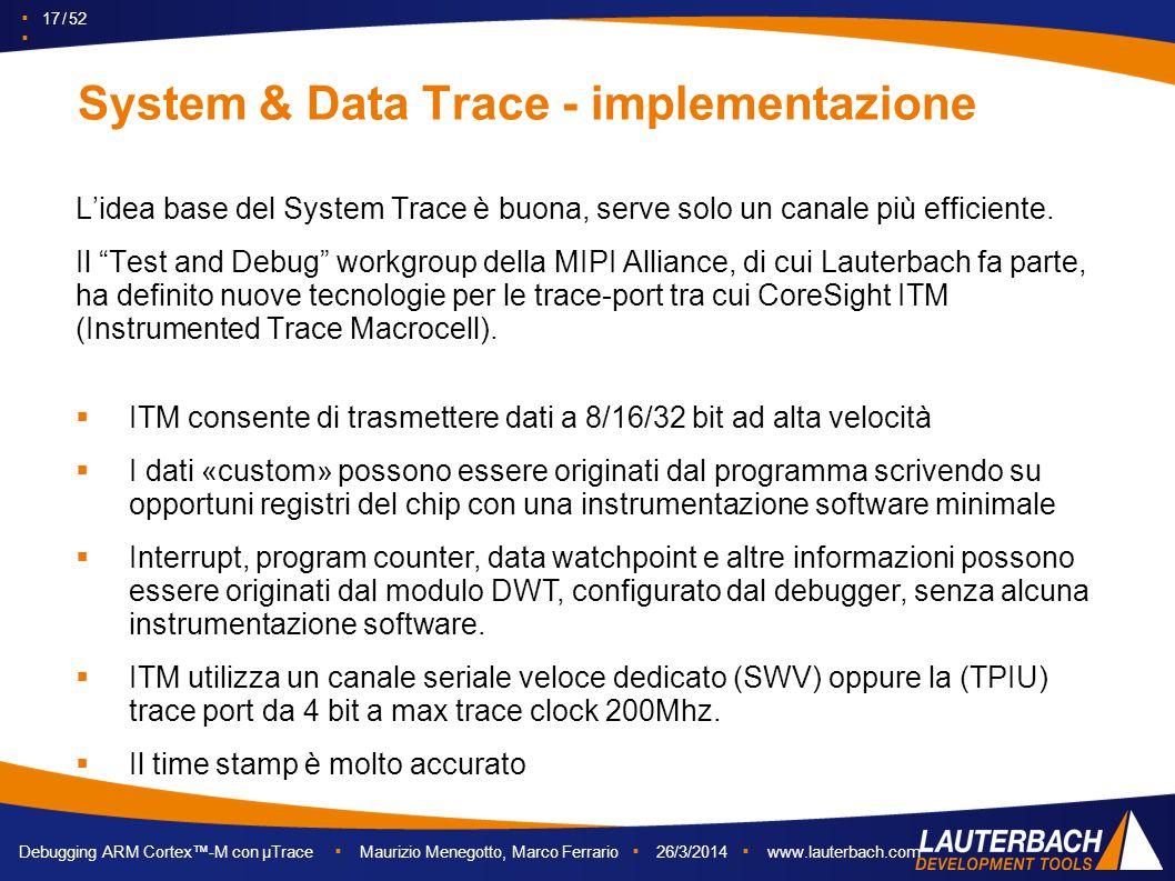 ▪ 17 / 52 ▪ Debugging ARM Cortex™-M con µTrace ▪ Maurizio Menegotto, Marco Ferrario ▪ 26/3/2014 ▪ www.lauterbach.com System & Data Trace - implementaz