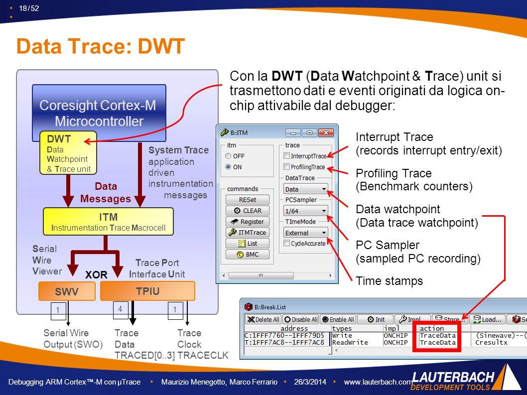 ▪ 18 / 52 ▪ Debugging ARM Cortex™-M con µTrace ▪ Maurizio Menegotto, Marco Ferrario ▪ 26/3/2014 ▪ www.lauterbach.com Data Trace: DWT Coresight Cortex-