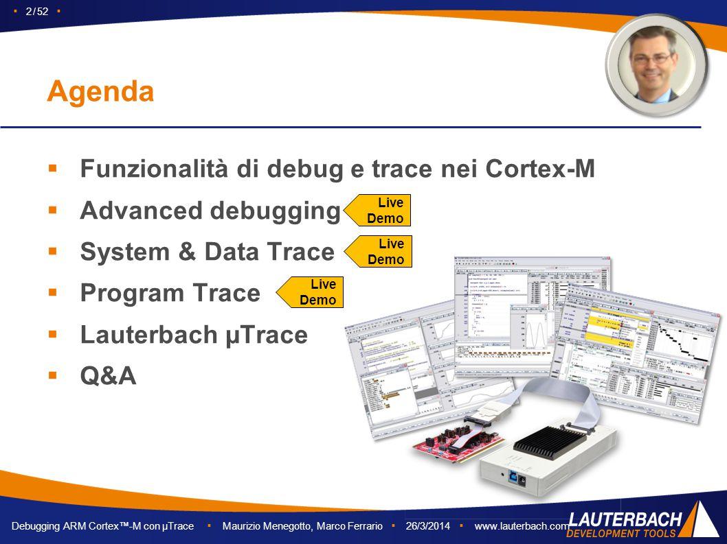 Debugging ARM Cortex™-M con µTrace ▪ Maurizio Menegotto, Marco Ferrario ▪ 26/3/2014 ▪ www.lauterbach.com ▪ 2 / 52 ▪  Funzionalità di debug e trace ne