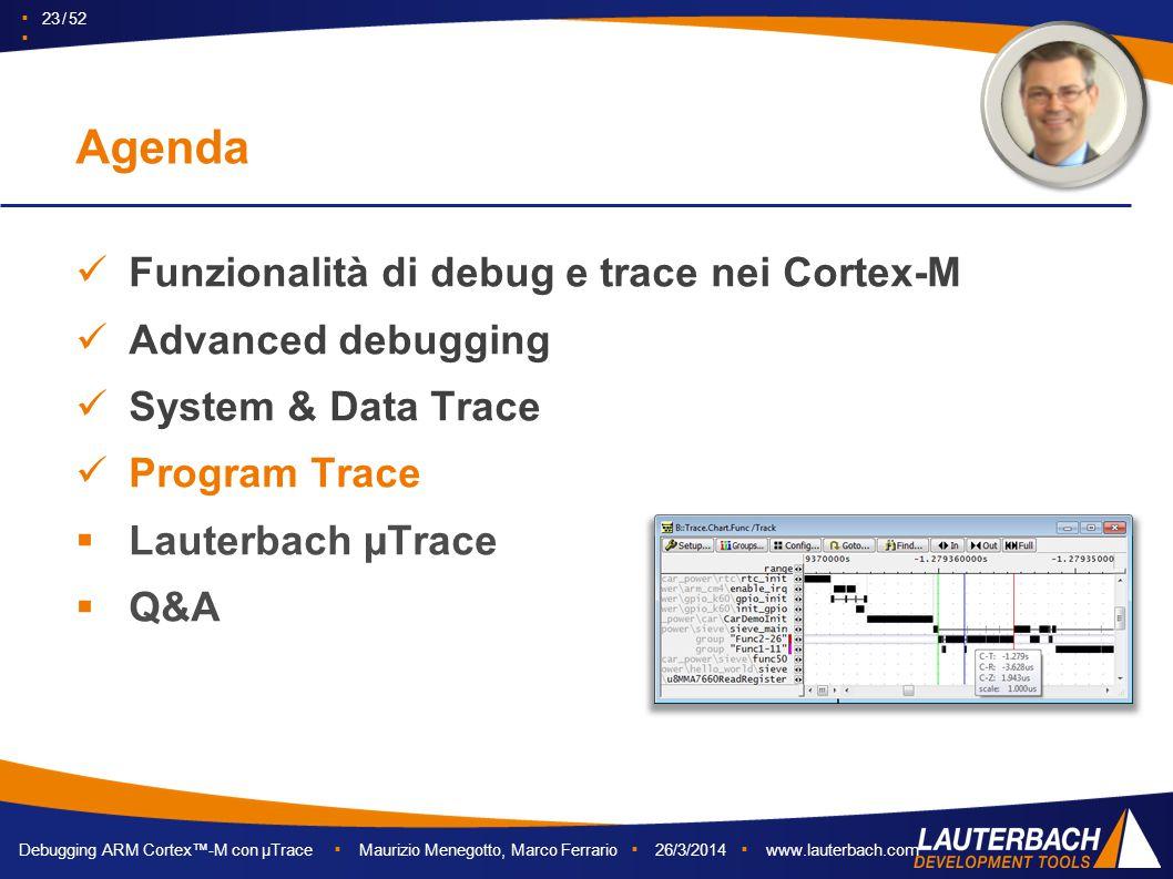 Debugging ARM Cortex™-M con µTrace ▪ Maurizio Menegotto, Marco Ferrario ▪ 26/3/2014 ▪ www.lauterbach.com ▪ 23 / 52 ▪ Funzionalità di debug e trace nei