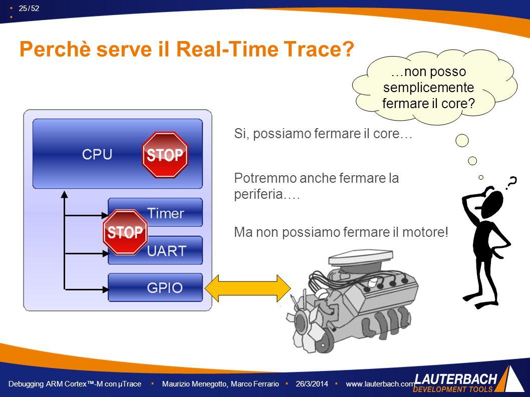▪ 25 / 52 ▪ Debugging ARM Cortex™-M con µTrace ▪ Maurizio Menegotto, Marco Ferrario ▪ 26/3/2014 ▪ www.lauterbach.com Perchè serve il Real-Time Trace?