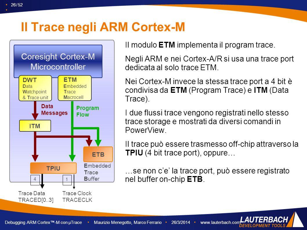 ▪ 26 / 52 ▪ Debugging ARM Cortex™-M con µTrace ▪ Maurizio Menegotto, Marco Ferrario ▪ 26/3/2014 ▪ www.lauterbach.com Il Trace negli ARM Cortex-M Cores