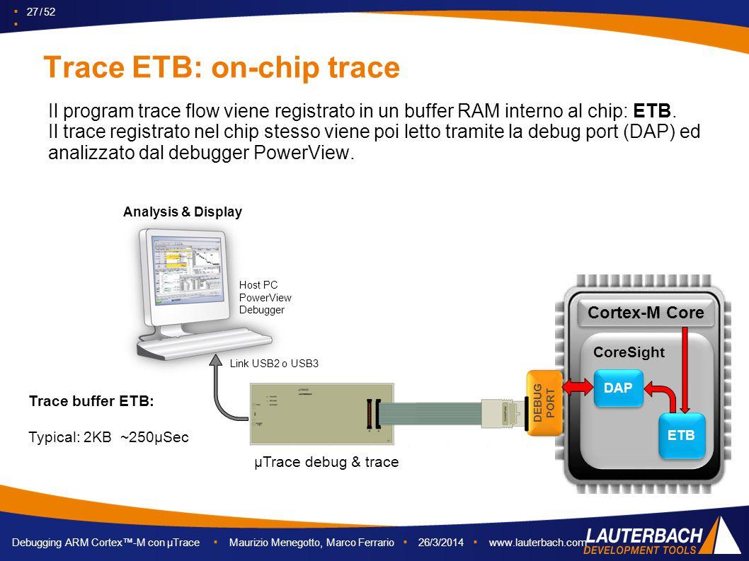 ▪ 27 / 52 ▪ Debugging ARM Cortex™-M con µTrace ▪ Maurizio Menegotto, Marco Ferrario ▪ 26/3/2014 ▪ www.lauterbach.com Trace ETB: on-chip trace Il progr