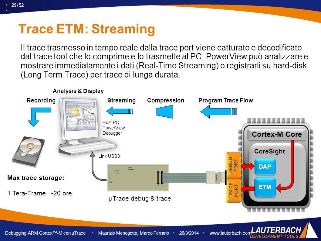 ▪ 29 / 52 ▪ Debugging ARM Cortex™-M con µTrace ▪ Maurizio Menegotto, Marco Ferrario ▪ 26/3/2014 ▪ www.lauterbach.com Trace ETM: Streaming Il trace tra