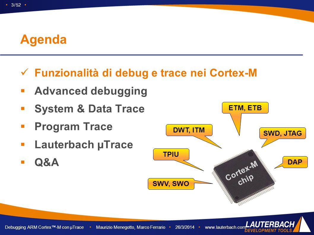 Debugging ARM Cortex™-M con µTrace ▪ Maurizio Menegotto, Marco Ferrario ▪ 26/3/2014 ▪ www.lauterbach.com ▪ 3 / 52 ▪ Funzionalità di debug e trace nei