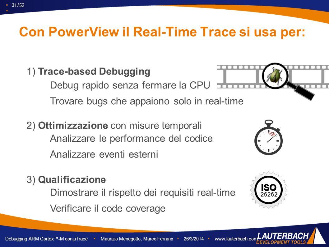 ▪ 31 / 52 ▪ Debugging ARM Cortex™-M con µTrace ▪ Maurizio Menegotto, Marco Ferrario ▪ 26/3/2014 ▪ www.lauterbach.com Con PowerView il Real-Time Trace