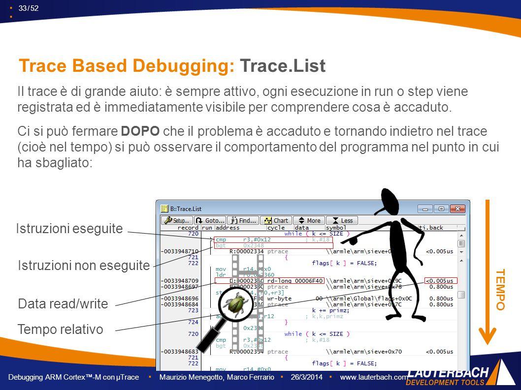 ▪ 33 / 52 ▪ Debugging ARM Cortex™-M con µTrace ▪ Maurizio Menegotto, Marco Ferrario ▪ 26/3/2014 ▪ www.lauterbach.com Istruzioni eseguite Istruzioni no