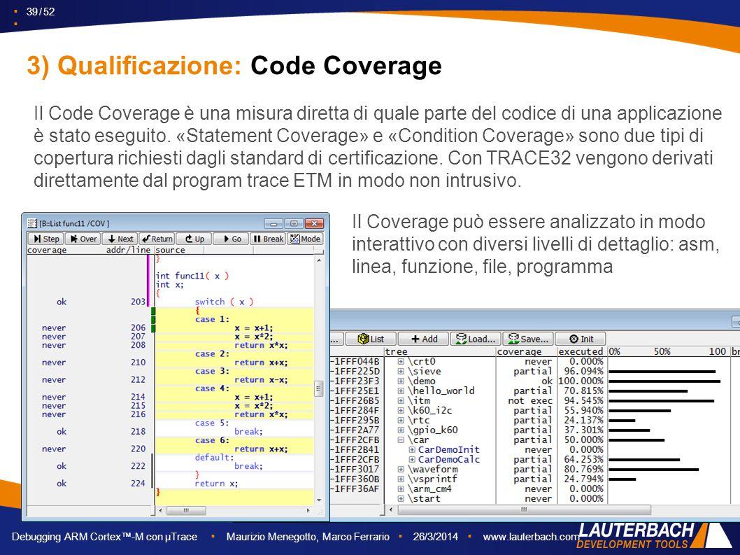 ▪ 39 / 52 ▪ Debugging ARM Cortex™-M con µTrace ▪ Maurizio Menegotto, Marco Ferrario ▪ 26/3/2014 ▪ www.lauterbach.com Il Code Coverage è una misura dir