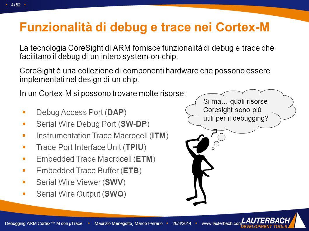 ▪ 4 / 52 ▪ Debugging ARM Cortex™-M con µTrace ▪ Maurizio Menegotto, Marco Ferrario ▪ 26/3/2014 ▪ www.lauterbach.com Funzionalità di debug e trace nei
