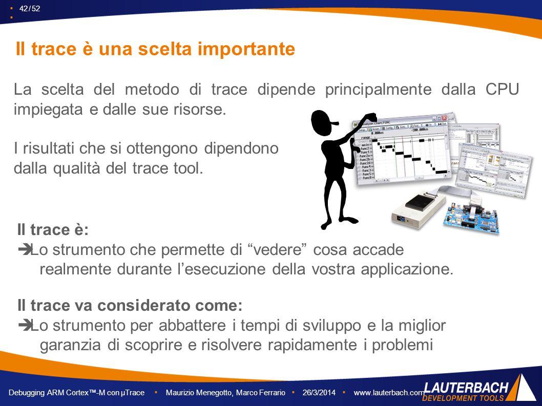 ▪ 42 / 52 ▪ Debugging ARM Cortex™-M con µTrace ▪ Maurizio Menegotto, Marco Ferrario ▪ 26/3/2014 ▪ www.lauterbach.com Il trace è una scelta importante