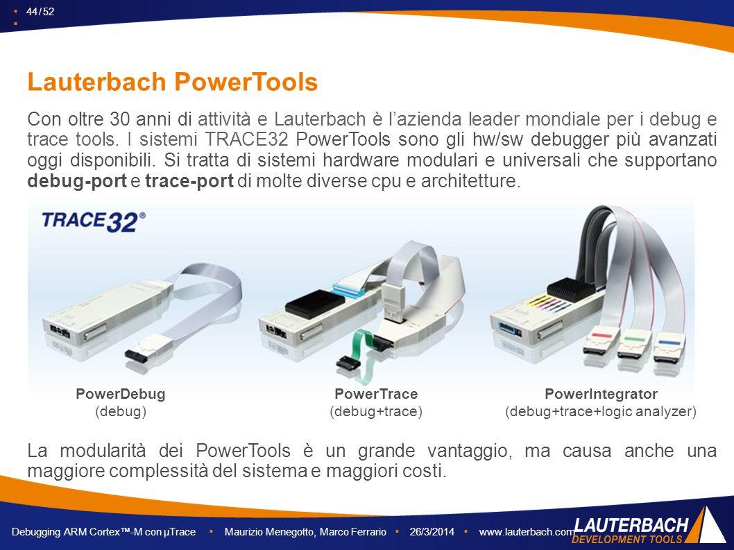 ▪ 44 / 52 ▪ Debugging ARM Cortex™-M con µTrace ▪ Maurizio Menegotto, Marco Ferrario ▪ 26/3/2014 ▪ www.lauterbach.com Lauterbach PowerTools La modulari