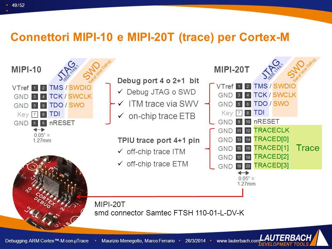 ▪ 49 / 52 ▪ Debugging ARM Cortex™-M con µTrace ▪ Maurizio Menegotto, Marco Ferrario ▪ 26/3/2014 ▪ www.lauterbach.com Connettori MIPI-10 e MIPI-20T (tr