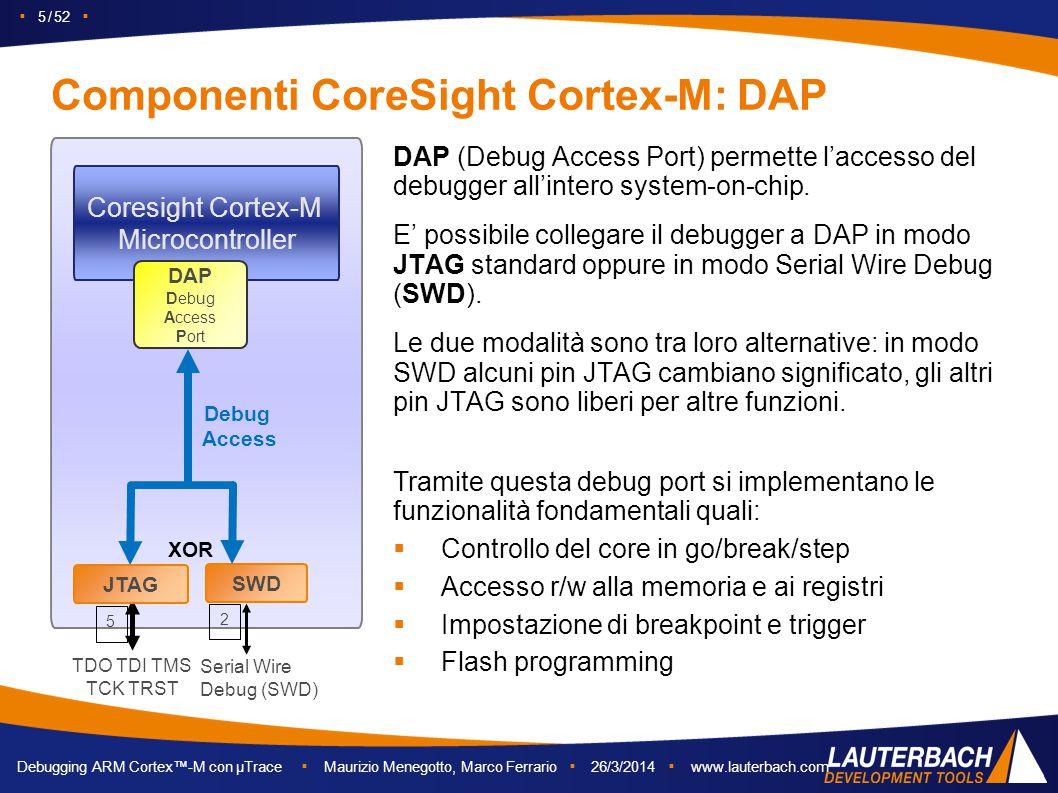 ▪ 5 / 52 ▪ Debugging ARM Cortex™-M con µTrace ▪ Maurizio Menegotto, Marco Ferrario ▪ 26/3/2014 ▪ www.lauterbach.com Componenti CoreSight Cortex-M: DAP