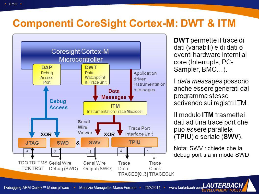 ▪ 6 / 52 ▪ Debugging ARM Cortex™-M con µTrace ▪ Maurizio Menegotto, Marco Ferrario ▪ 26/3/2014 ▪ www.lauterbach.com Componenti CoreSight Cortex-M: DWT