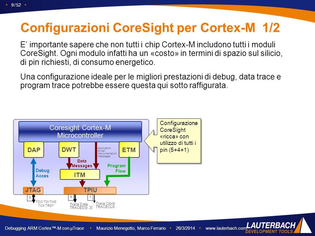 ▪ 9 / 52 ▪ Debugging ARM Cortex™-M con µTrace ▪ Maurizio Menegotto, Marco Ferrario ▪ 26/3/2014 ▪ www.lauterbach.com Configurazioni CoreSight per Corte