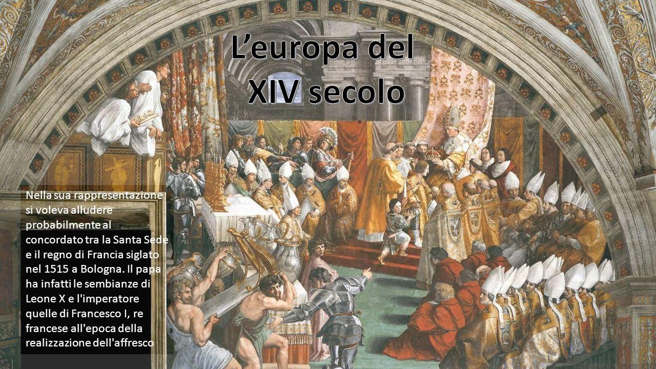 Nella sua rappresentazione si voleva alludere probabilmente al concordato tra la Santa Sede e il regno di Francia siglato nel 1515 a Bologna. Il papa
