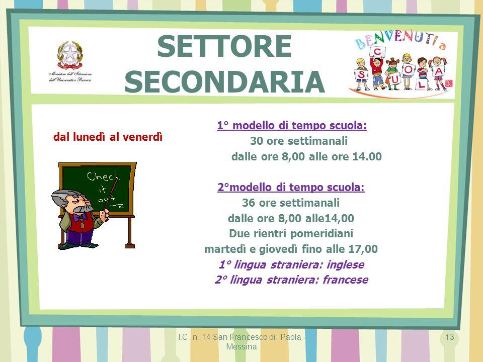 I.C. n. 14 San Francesco di Paola - Messina 13 SETTORE SECONDARIA 1° modello di tempo scuola: 30 ore settimanali dalle ore 8,00 alle ore 14.00 2°model