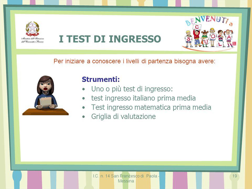 I.C. n. 14 San Francesco di Paola - Messina 19 I TEST DI INGRESSO Strumenti: Uno o più test di ingresso: test ingresso italiano prima media Test ingre