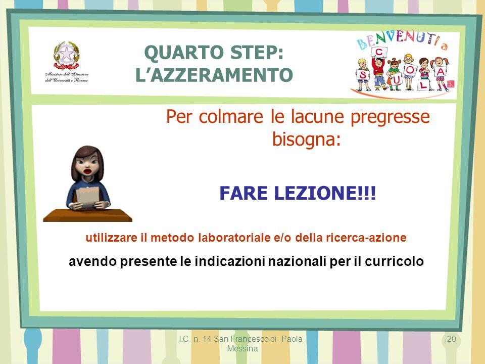 I.C. n. 14 San Francesco di Paola - Messina 20 QUARTO STEP: L'AZZERAMENTO Per colmare le lacune pregresse bisogna: FARE LEZIONE!!! utilizzare il metod