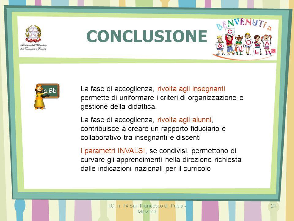 I.C. n. 14 San Francesco di Paola - Messina 21 CONCLUSIONE La fase di accoglienza, rivolta agli insegnanti permette di uniformare i criteri di organiz