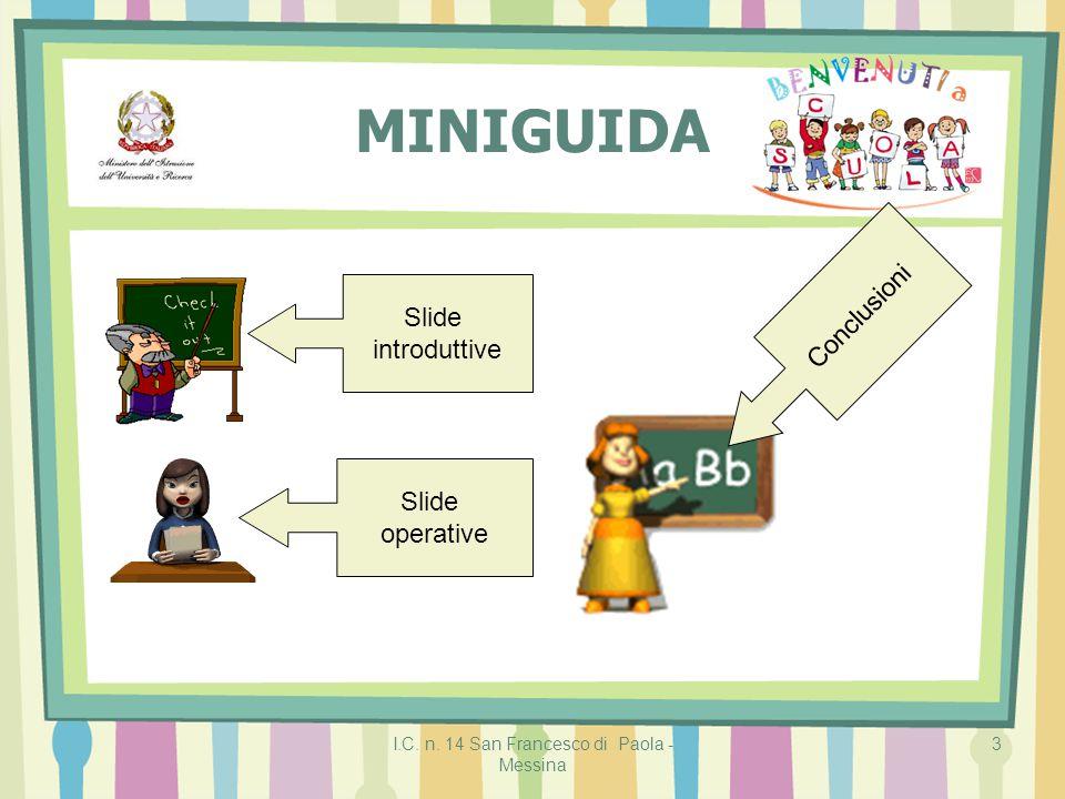 I.C. n. 14 San Francesco di Paola - Messina 3 MINIGUIDA Slide introduttive Slide operative Conclusioni