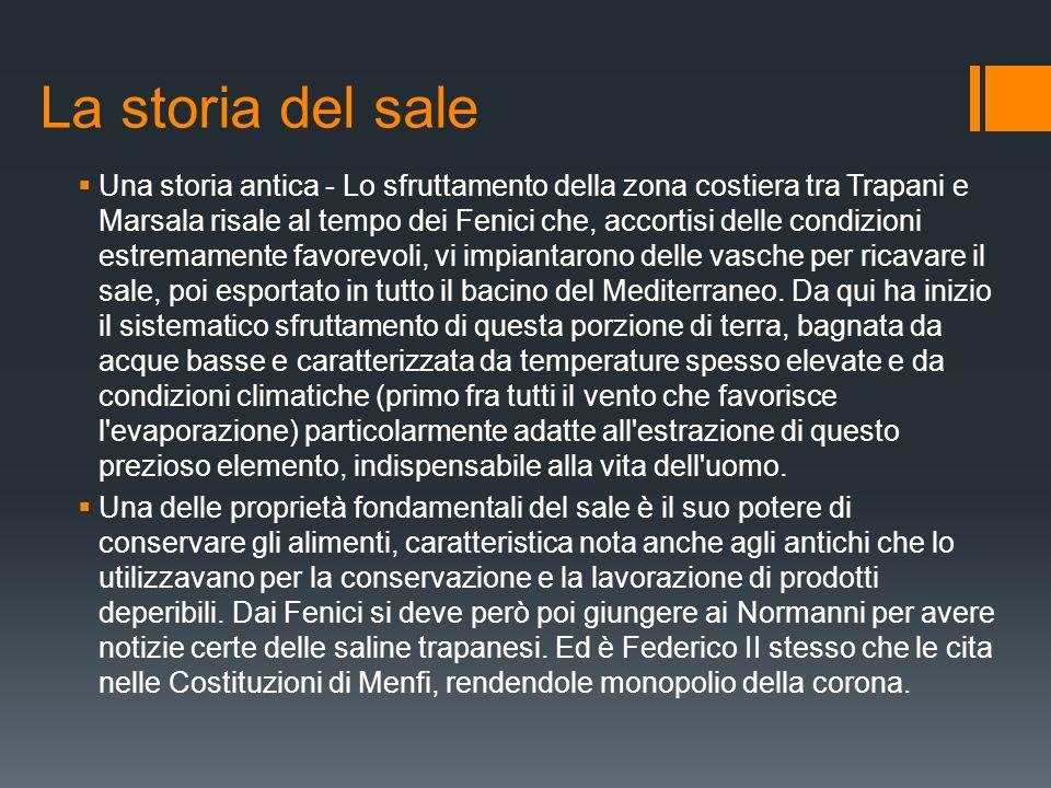 La storia del sale  Una storia antica - Lo sfruttamento della zona costiera tra Trapani e Marsala risale al tempo dei Fenici che, accortisi delle con