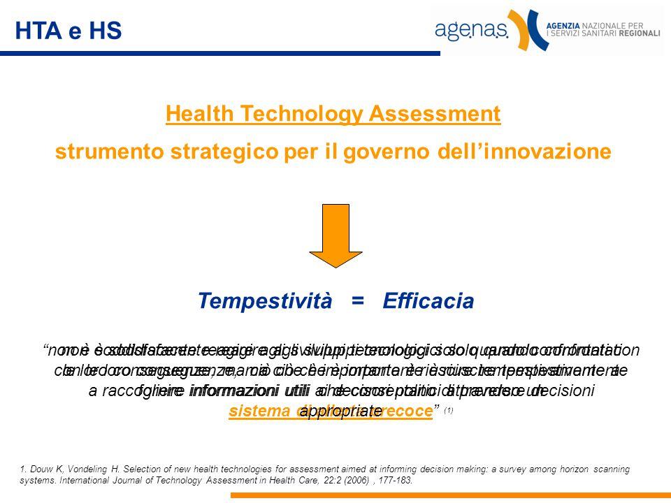 """Health Technology Assessment strumento strategico per il governo dell'innovazione HTA e HS Tempestività = Efficacia """"non è soddisfacente reagire agli"""